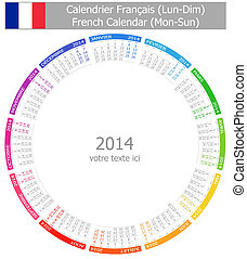 2014 French Circle Calendar Mon-Sun
