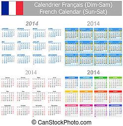 2014 French Mix Calendar Sun-Sat