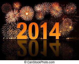 2014, fuegos artificiales, año, celebración
