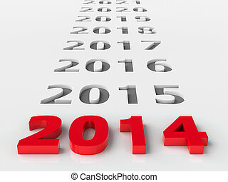 2014 future represents the new year 2014, three-dimensional...