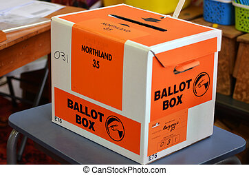 MANGONUI, NZL -SEP 20 2014:Ballot Box of NZ 2014 General Election. The Electoral Commission said 717,579 people voted in advance of election day, more than double then Election in 2011.