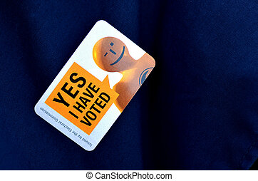 MANGONUI, NZL -SEP 20 2014:I HAVE VOTED sticker OF NZ 2014 General Election. The Electoral Commission said 717,579 people voted in advance of election day, more than double then Election in 2011.