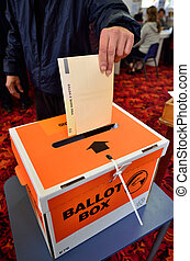 MANGONUI, NZL -SEP 20 2014:New Zelanders voting for NZ 2014 General Election. The Electoral Commission said 717,579 people voted in advance of election day, more than double then Election in 2011.