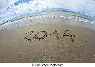 2014, geschreven, strand, zee, jaar