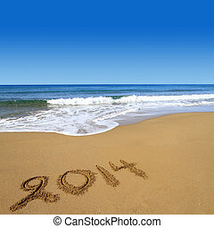 2014, geschrieben, sandstrand, sandig