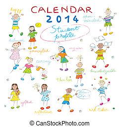 2014, gosses, couverture, calendrier
