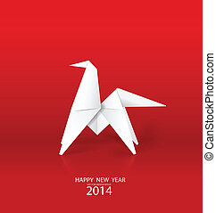 2014 Happy New Year greeting card, origami paper horse design. Vector illustration.