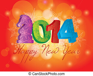 2014 Happy New Year of the Horse with Snowflakes Background