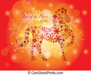 2014 Happy Chinese New Year of the Horse Text and Silhouette Outline with Snowflakes Pattern on Bokeh Background Illustration