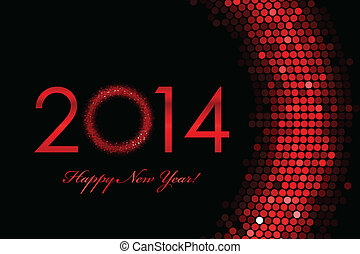 2014 Happy New Year red background - Vector 2014 Happy New...