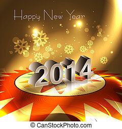 2014 happy New Year reflection Greeting card celebration...