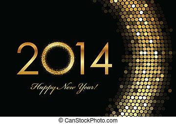2014 Happy New Year - Vector - 2014 Happy New Year golden...