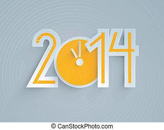 2014 Happy New Year Yellow Clock