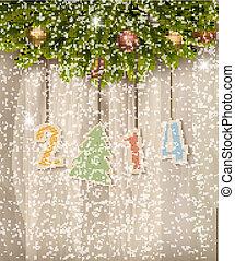 2014, hintergrund., vektor, jahr, neu , glücklich