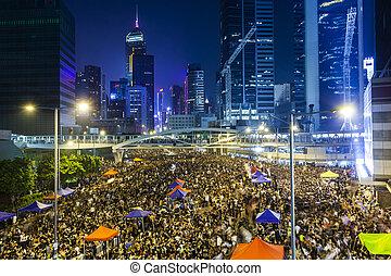 2014, hong, pro-democracy, 抗議, kong