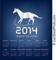 2014., horse., calendario, origami, vector., año