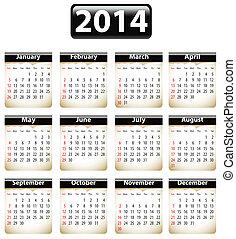 2014, inglés, calendario