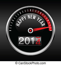 2014, instrumentbräda, nytt år, lycklig, backg