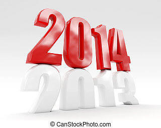 2014 is coming - 3d 2014 cube new year day