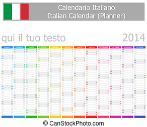 2014 Italian Planner Calendar with Vertical Months on white...