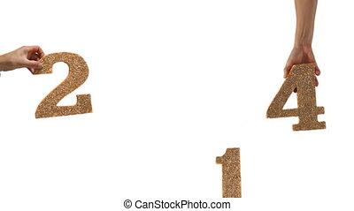 2014, jaar, nieuw, handen