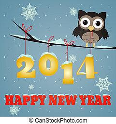 2014, jaar, vrolijke , uil, nieuw