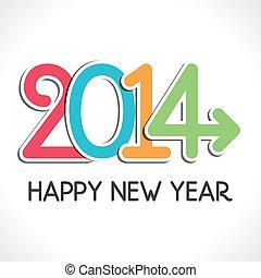 2014, jahr, glücklich, gruß, neu