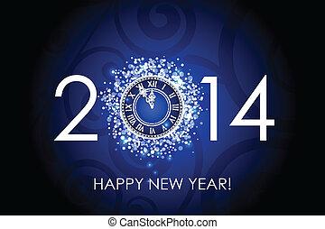 2014, jahr, glücklich, uhr, neu