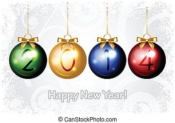 2014, jahr, glücklich, vektor, neu