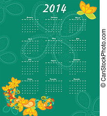 2014, jahr, kalender