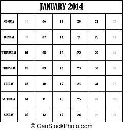 2014 JANUARY Planner Calendar
