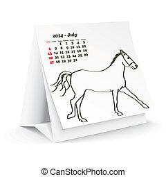 2014, juillet, cheval, calendrier, bureau