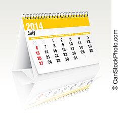 2014, julho, calendário, escrivaninha