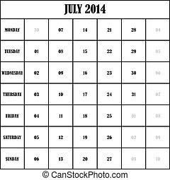 2014 JULY Planner Calendar