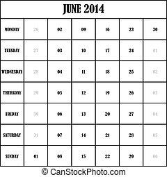 2014 JUNE Planner Calendar