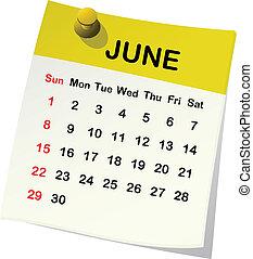 2014, kalendář, jako, june.