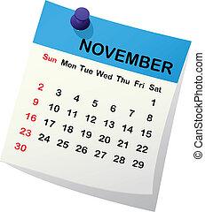 2014, kalendář, jako, november.