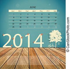2014, kalendář, měsíčník, kalendář, šablona, jako, june.,...