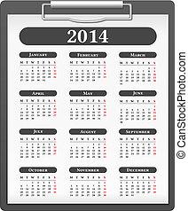 2014, kalendarz
