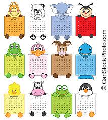 2014, kalender, djur
