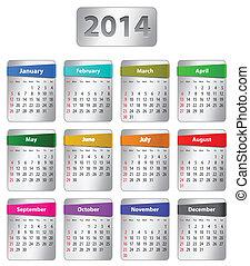2014, kalender, engelsk