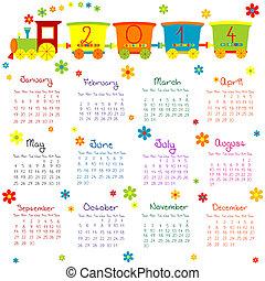 2014, kalender, hos, tog, by, børn