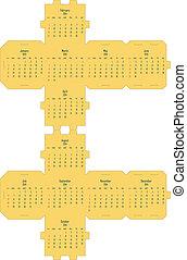 2014, kalender, kub