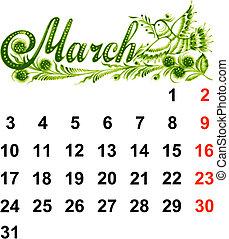 2014, kalender, mars
