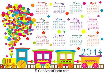2014, kalender, mit, karikatur, zug