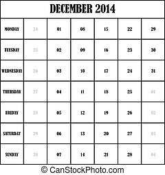 2014, kalender, planer, dezember