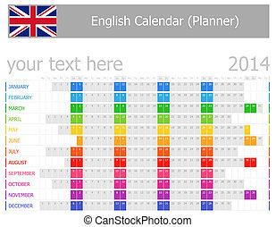 2014, kalender, planer, englisches
