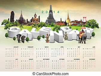 2014, kalender, reise, hintergrund