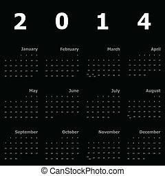 2014, kalender, schwarzer hintergrund