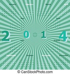2014, kalender, strahlen, grüner hintergrund